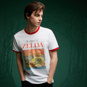Legend Of Zelda Retro Box Art T-Shirt - Weiß / Rot Ringer