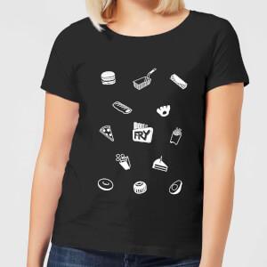 Does It Fry Pattern Women's T-Shirt - Black