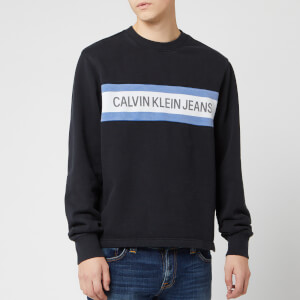 Calvin Klein Jeans Men's Front Stripe Sweatshirt - CK Black/White