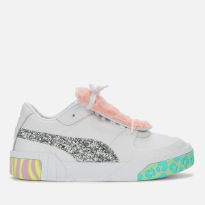 Puma X Sophia Webster Women's Cali Fur Trainers - Puma White/Metallic Silver