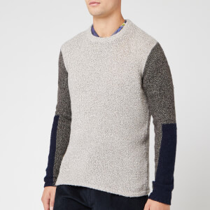 Folk Men's Textured Crew Jumper - Stone Black Multi