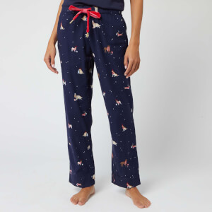 Joules Women's Snooze Xmas Dogs Pyjama Bottoms - Navy