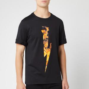 Neil Barrett Men's Flame Thunderbolt T-Shirt - Black/Orange