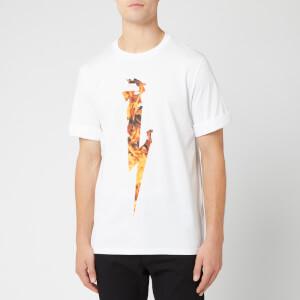 Neil Barrett Men's Flame Thunderbolt T-Shirt - White/Orange