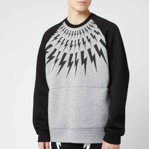 Neil Barrett Men's Retro Fairisle Thunderbolt Sweatshirt - Black/Grey