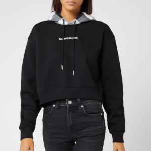 Calvin Klein Jeans Women's Buffalo Check Crop Hoodie - Black