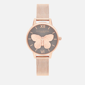 Olivia Burton Women's 3D Butterfly Mesh Watch - Grey Dial & Rose Gold