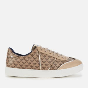 Emporio Armani Women's Biz Allover Logo Low Top Trainers - Taupe/Gold