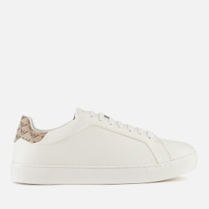 Emporio Armani Women's Project Leather Cupsole Trainers - Cream/Taupe
