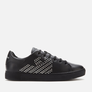 Emporio Armani Women's Marie Leather/Studs Cupsole Trainers - Black/Silver