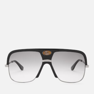 Gucci Men's Square Frame Metal/Acetate Sunglasses - Black/Grey