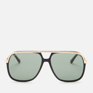Gucci Men's Aviator Style Sunglasses - Black/Gold/Green