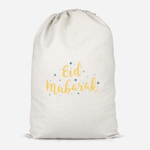 Eid Mubarak Script Green Stars Cotton Storage Bag