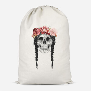 Skull And Flowers Cotton Storage Bag