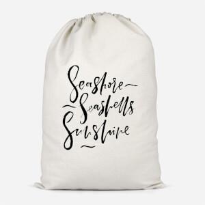 Seashore, Seashells, Sunshine Cotton Storage Bag