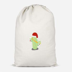 Cactus Santa Hat Cotton Storage Bag