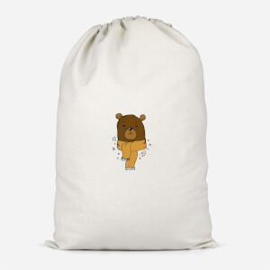 Christmas Bear Pocket Cotton Storage Bag