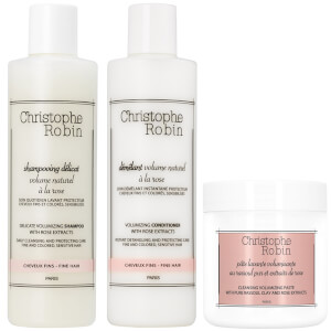 Christophe Robin Volume Shampoo, Conditioner and Travel Size Cleansing Volumizing Paste with Pure Rassoul Clay (Worth $100.00)