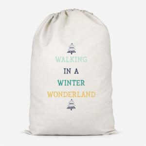 Walking In A Winter Wonderland Cotton Storage Bag