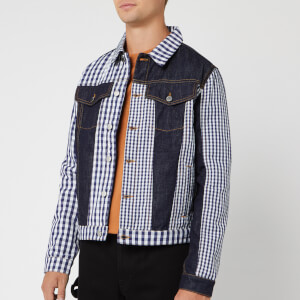 JW Anderson Men's Gingham Patchwork Denim Jacket - Indigo