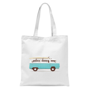 Blue Van Tote Bag - White