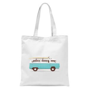 Blue Van Tote Bag - White