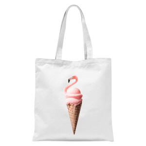 Flamingo Ice Cream Tote Bag - White