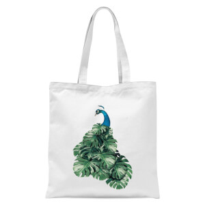 Peacock Tote Bag - White