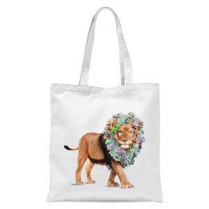 Floral Lion Tote Bag - White