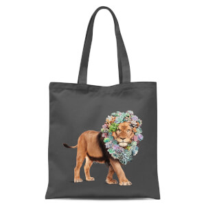 Floral Lion Tote Bag - Grey
