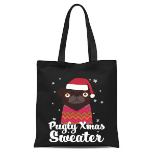 Pugly Xmas Sweater Tote Bag - Black