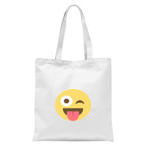 Winky Tongue Face Tote Bag - White