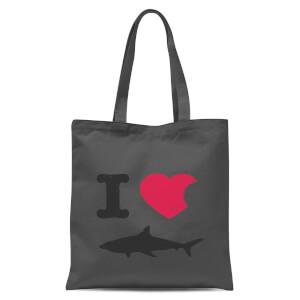 I Love Sharks Tote Bag - Grey