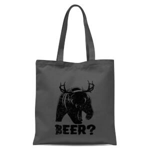 Beer Bear Deer Tote Bag - Grey