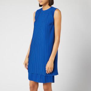 Victoria, Victoria Beckham Women's Pleated Shift Dress - Bright Blue