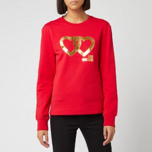 Love Moschino Women's Heart Logo Sweatshirt - Red
