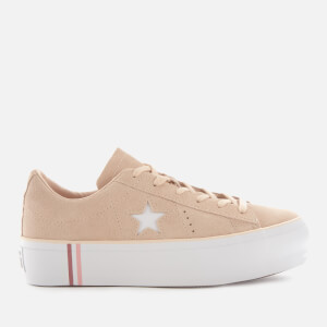 Converse Women's One Star Platform Seasonal Suede Ox Trainers - Light Bisque/White/White