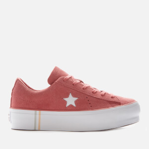 Converse Women's One Star Platform Seasonal Suede Ox Trainers - Light Redwood/White/White
