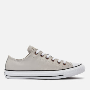 Converse Men's Chuck Taylor All Star Leather Ox Trainers - Pale Putty/White/Black