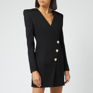 Balmain Women's Short Wool Wrap Dress - Black