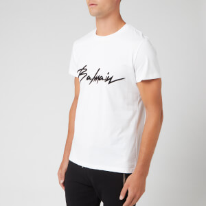 Balmain Men's Signature T-Shirt - Blanc