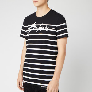 Balmain Men's Striped Signature Balmain T-Shirt - Noir/Blanc