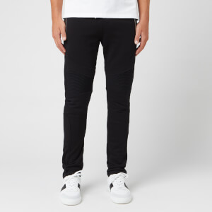 Balmain Men's Ribbed Sweatpants with Coin Back Pocket - Noir