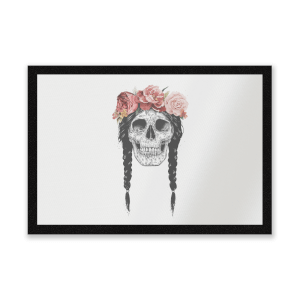 Skull And Flowers Entrance Mat