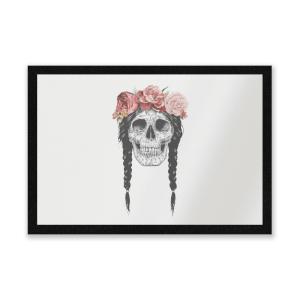 Skull And Flowers Entrance Mat