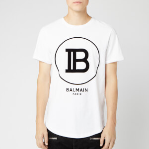 Balmain Men's T-Shirt with Large Coin Logo - Blanc