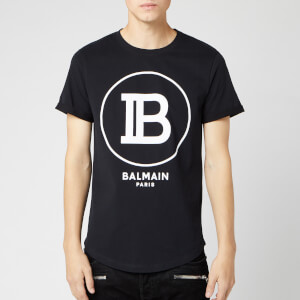 Balmain Men's T-Shirt with Large Coin Logo - Noir