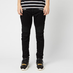 Balmain Men's Monogram Ribbed Slim Jeans - Noir