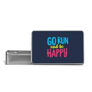Go Run And Be Happy Metal Storage Tin