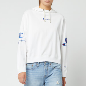 Champion Women's Sleeve Logo Hooded Sweatshirt - White